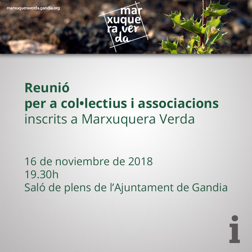 Reunió per a associacions i col•lectius a Marxuquera Verda